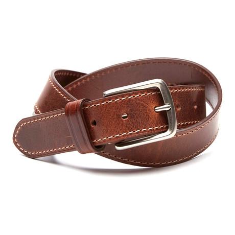 Bryant Embossed Logo Leather Belt // Cognac (32)