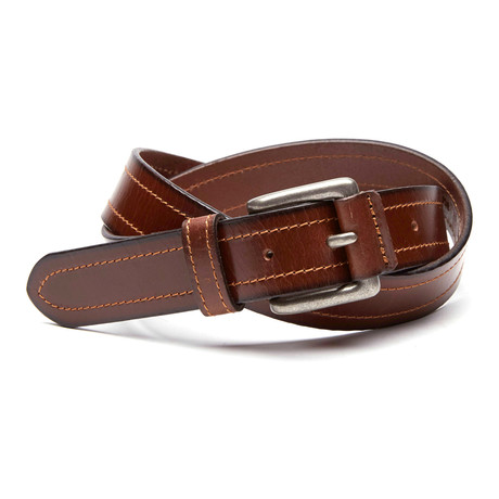 Mark Covered Buckle Casual Belt // Brown
