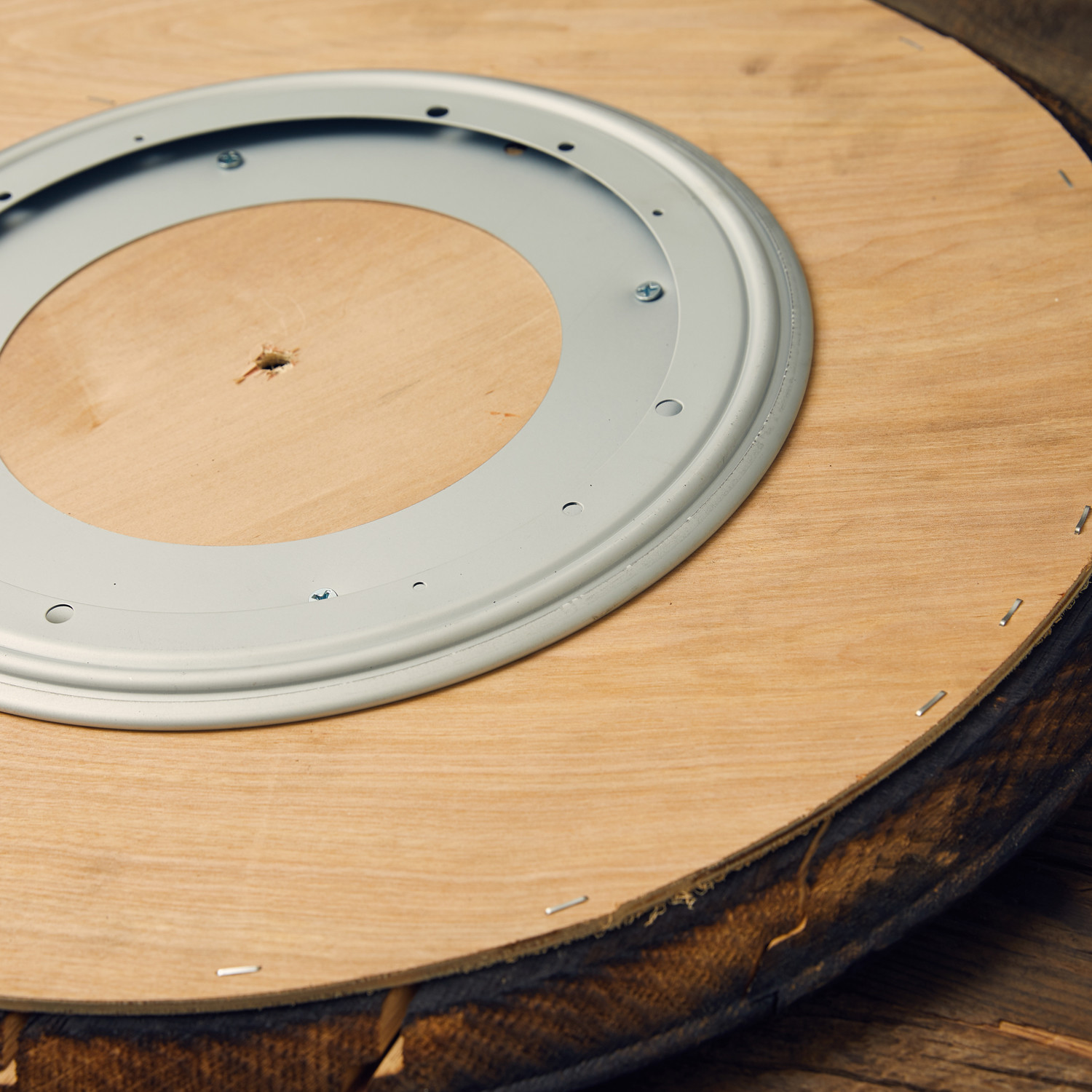 Distillery Used Bourbon Barrel Head Lazy Susan Whiskeymade
