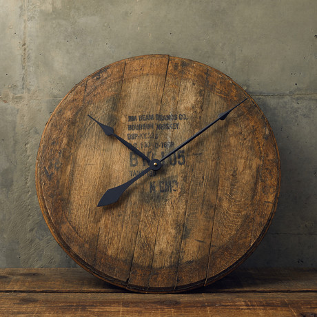 Distillery Used Bourbon Barrel Head // Clock Kit
