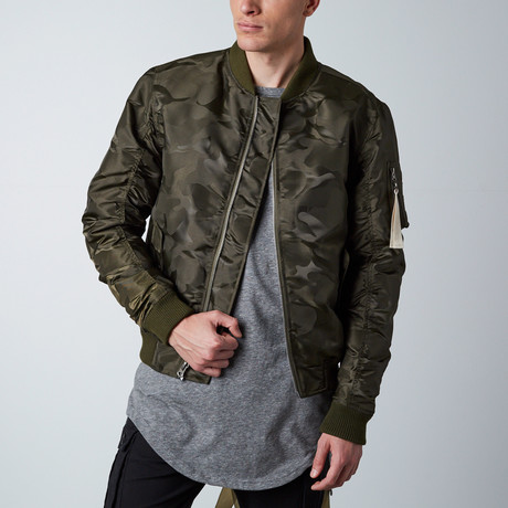 Tonal Fatigue Bomber Jacket // Olive (S)