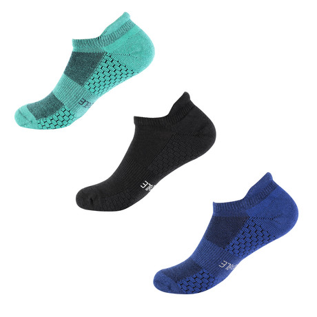 Recon Ankle Sock // Pack of 3 // Black + Green + Blue (S/M)