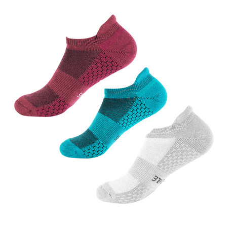 Recon Ankle Sock // Pack of 3 // Grey + Blue + Burgundy (S/M)