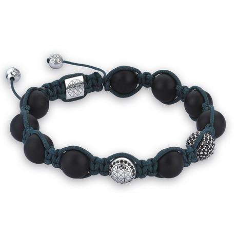 Macrame Bracelet // Dark Green Agate