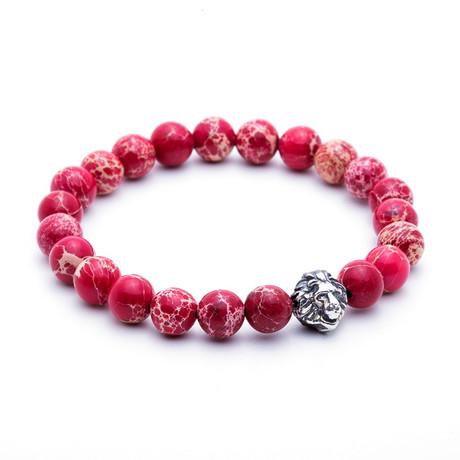 Leo Jasper Beaded Bracelet // Silver + Red