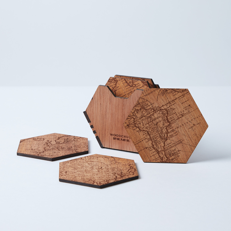 Puzzle piece coaster set world map edition woodchuck for Woodchuck usa