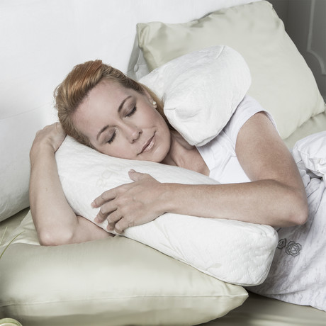 Uno Memory Foam Pillow // Snuggle Pillow For Side Sleepers (White // Bamboo Cover)