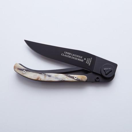 Laguiole Linerlock Pocket Knife // Black + Ram Horn