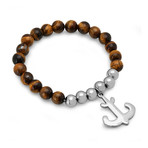 Tiger's Eye + Stainless Steel Anchor Charm Bracelet // Brown + Silver