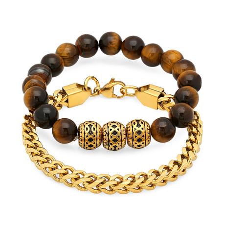 18K Gold Plated + Tiger Eye Beaded Bracelet // Set of 2