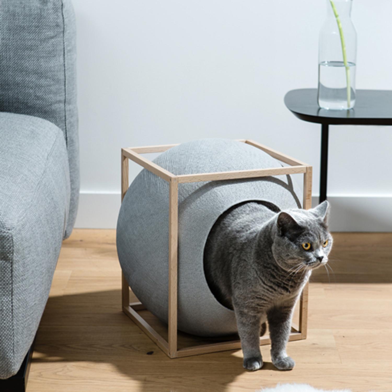meyou paris  modern cat beds  touch of modern - the cube  wood edition (dark grey)