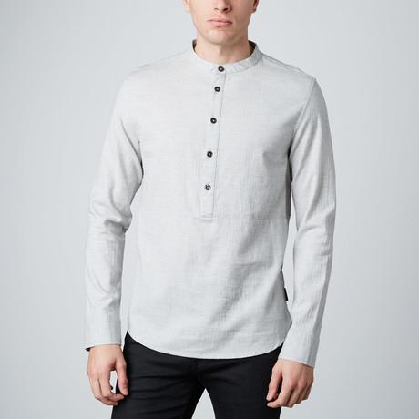 Gannon Herringbone Woven Shirt // Heather Grey
