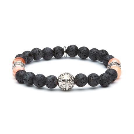 Jean Claude Jewelry // Lava Stone + Coral Beads Bracelet // Multicolor