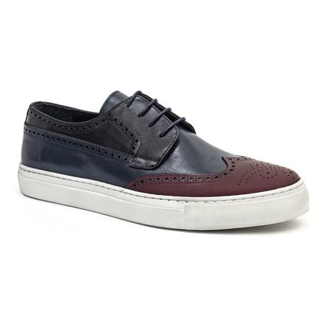 Medallion Wing-Tip Sneaker // Burgundy + Navy + Black