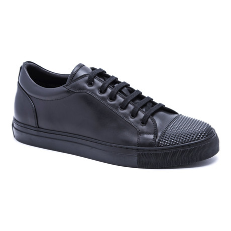 Textured Toe Cap Sneakers // Black