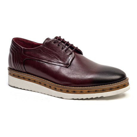 Casual Wooden Derby // Burgundy