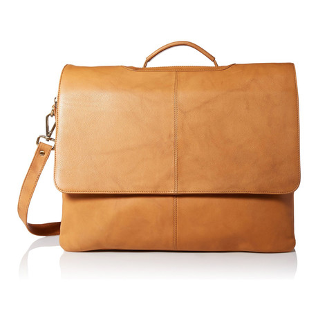 Leather Business Messenger Briefcase // Sand