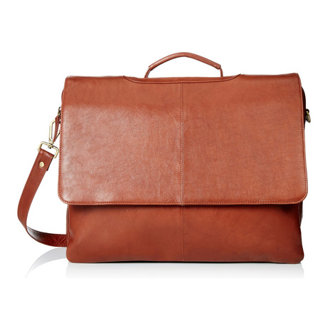 Leather Business Messenger Briefcase // Brown