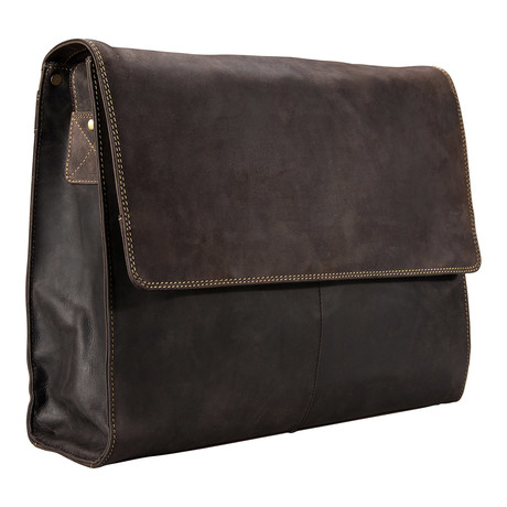 Leather Laptop Messenger // Tan