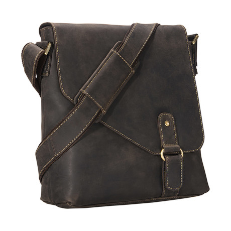 Hunter Distressed Leather Messenger // Brown