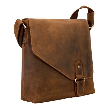 Hunter Distressed Leather Messenger // Tan