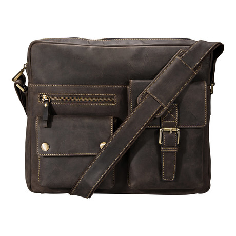 Distressed Leather Messenger Bag // Brown