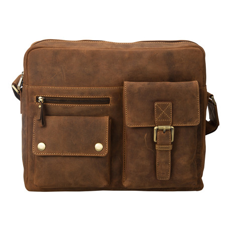 Distressed Leather Messenger Bag // Tan