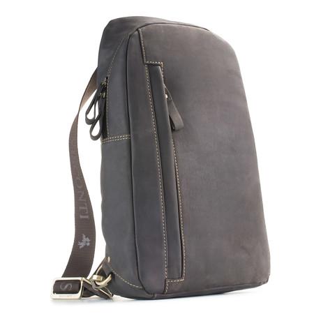 Shark Distressed Leather Backpack + Sling Shoulder Bag // Brown