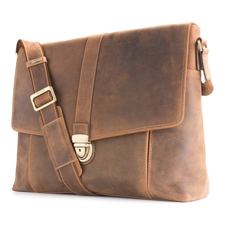 Vince Distressed Leather Laptop Messenger // Tan