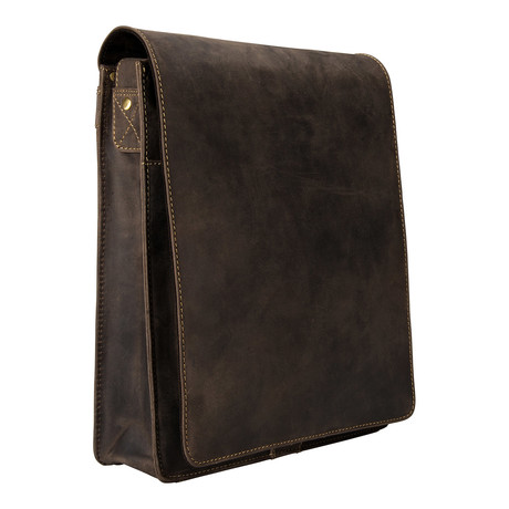 Distressed Leather Organizer Messenger // Brown