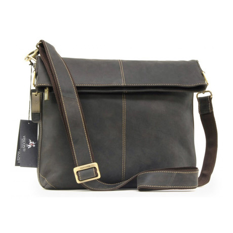 Distressed Leather Folding Messenger // Brown