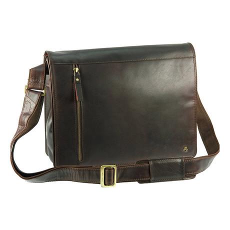 Buffalo Leather Messenger Bag // Brown