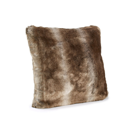 Couture Faux Fur Pillow // Timber Wolf (24L x 24W)
