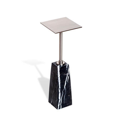 Beck Square Drink Table (Black + Nickel)