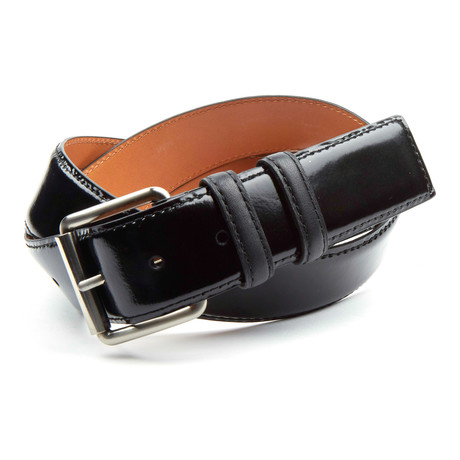 "Bryant Park // Genuine Mirrored Italian Leather Jean Belt // Black (34"" Waist)"