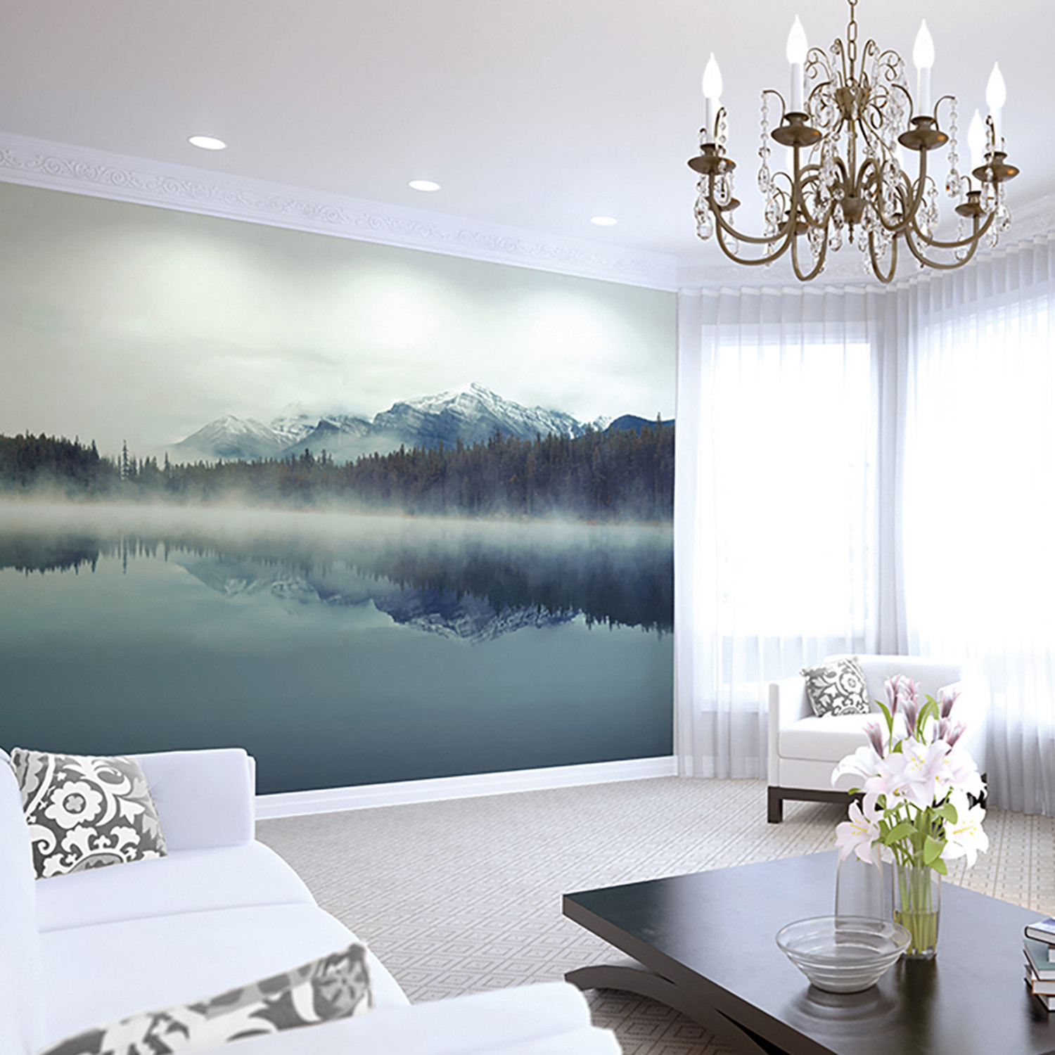 Cloudy peaks wall mural brewster home fashions touch for Brewster wall mural
