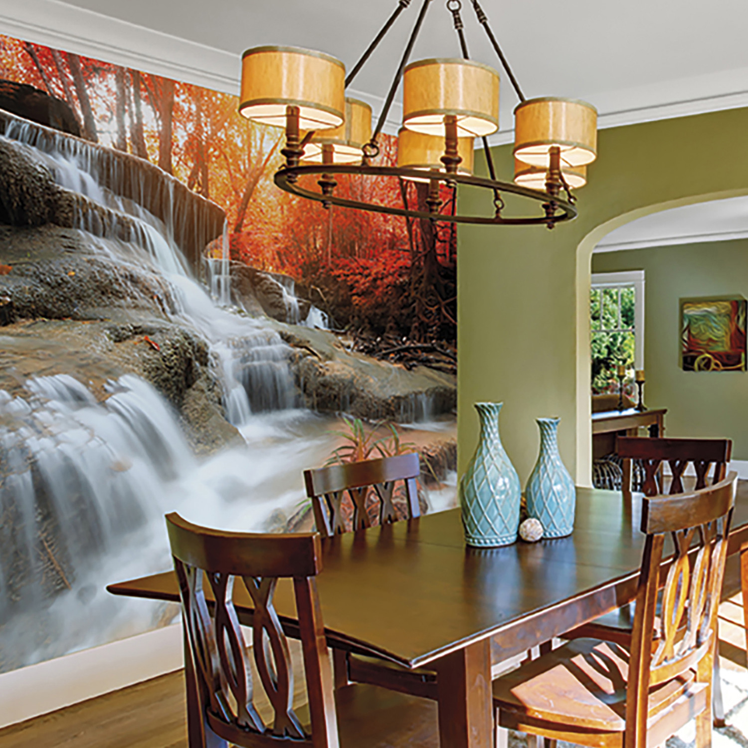 Autumn waterfall wall mural brewster home fashions for Brewster home fashions wall mural