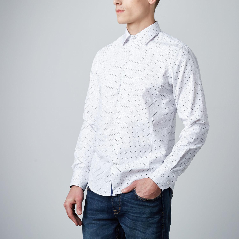 Polkadot Button Up Dress Shirt White S Rosso Milano