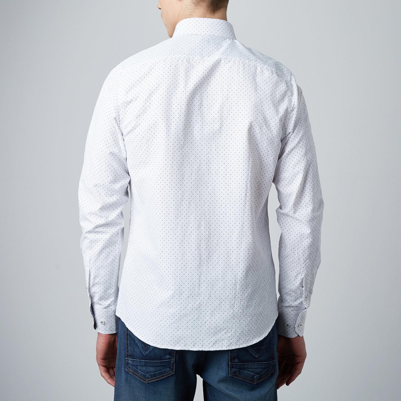 Polkadot Button Up Dress Shirt White 3xl Rosso