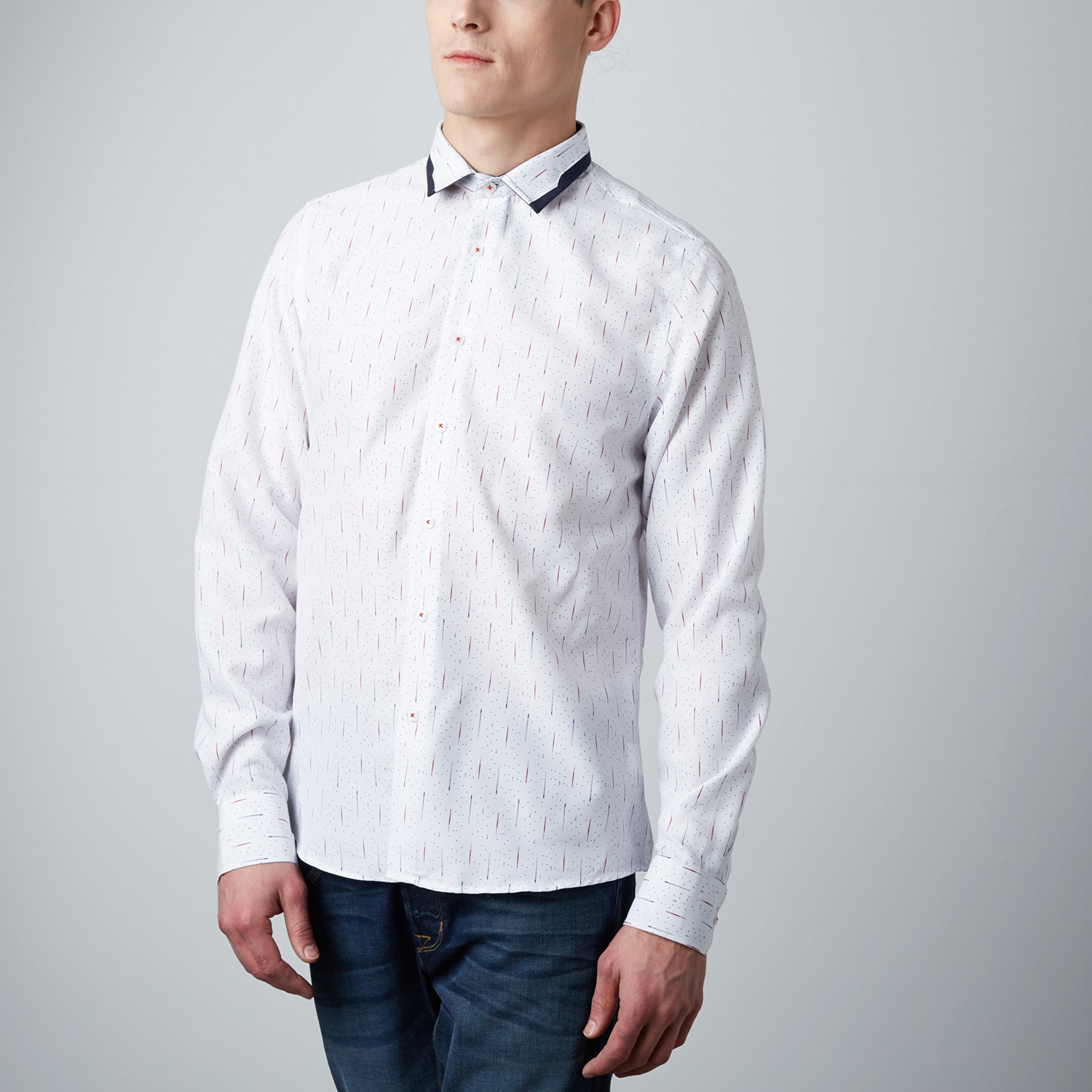 Meteor shower button up dress shirt white s rosso for Meteorite milano
