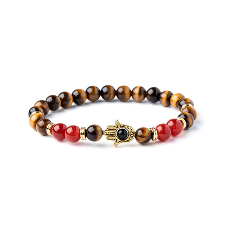 Tiger Eye + Agate Hamsa Bead Bracelet // Multi