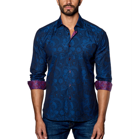 Jacquard Woven Button-Up // Navy