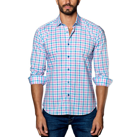 Plaid Woven Button-Up // Pink + Blue (S)