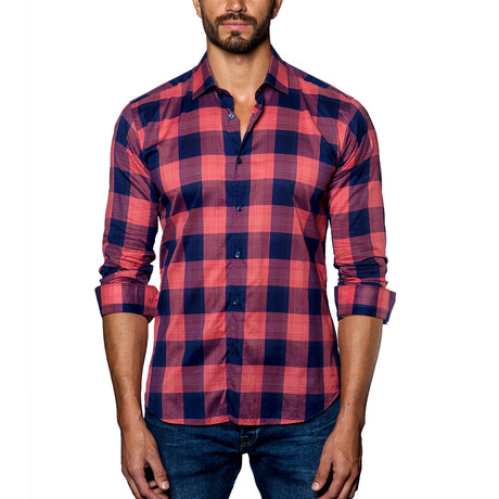 Plaid Woven Button-Up // Red + Navy (S)