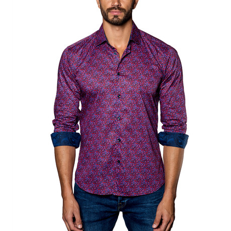 Woven Button-Up // Red + Purple