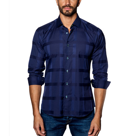 Woven Button-Up // Dark Blue Check (S)
