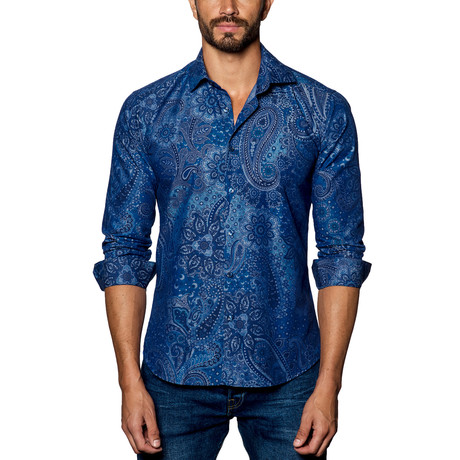 Paisley Woven Button-Up // Blue