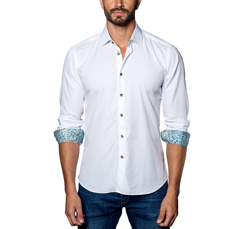 Woven Button-Up // White + Blue (S)
