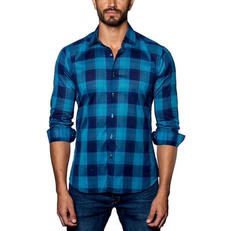 Plaid Woven Button-Up // Turquoise + Navy (S)