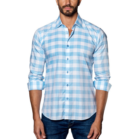 Plaid Woven Button-Up // Blue